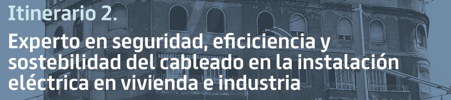 Itinerario 2. Experto en seguridad, eficiencia y sostenibilidad del cableado en la instalación eléctrica en vivienda e industria