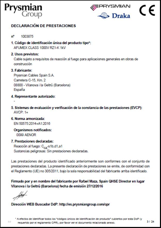 Declaración Prestaciones (DoP)