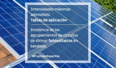 Incidencia de los agrupamientos de circuitos de strings fotovoltaicos en bandejas. Intensidades máximas admisibles. Tablas de aplicación.